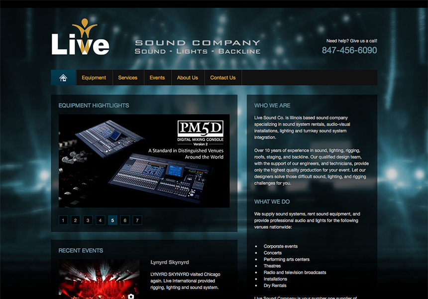 Live Sound Company Chicago Web Design