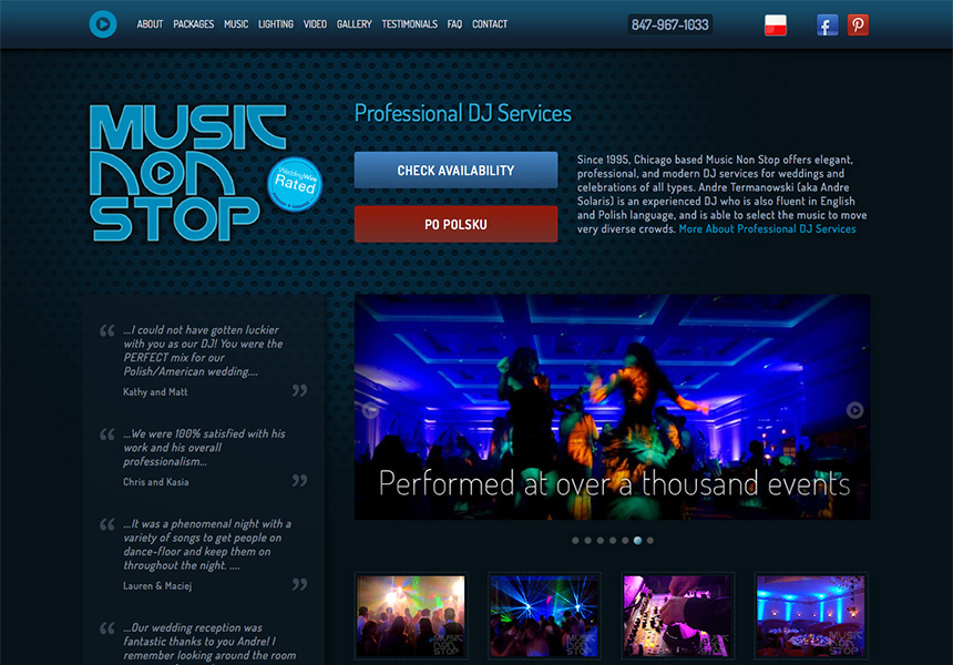 Music Non Stop Chicago Web Design